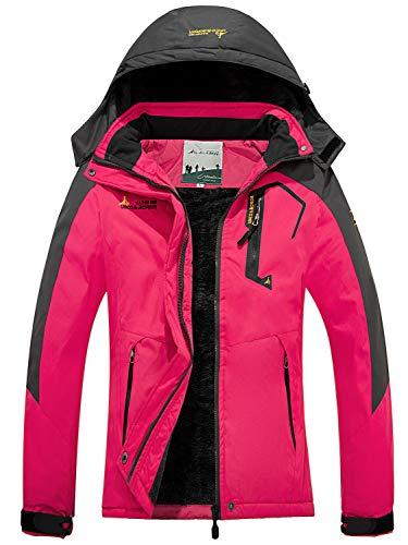 FARVALUE Women's Waterproof Ski Jacket Mountain Winter Warm Snow Coat Windbreaker Snowboarding Jacket with Hood Rose Red Medium