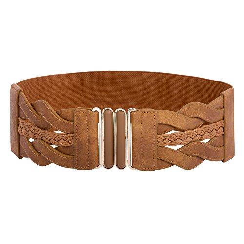 Women Stretchy Vintage Dress Belt Elastic Retro Wide Waist Cinch Belt Brown, M