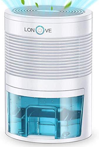 LONOVE Dehumidifier - 27 oz(800ml) Small Dehumidifiers for Home Bedroom Bathroom Basements Closet RV Room, 2200 Cubic Feet Full Auto-Off Portable Electric Mini Dehumidifier for Space Up to 190 sq ft