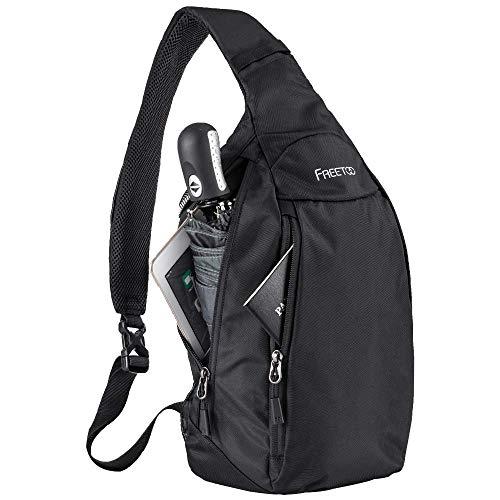 FREETOO Lightweight Waterproof Sling Bag 500D Nylon Slim Crossbody Shoulder Sling Backpack for Men and Women (Black)