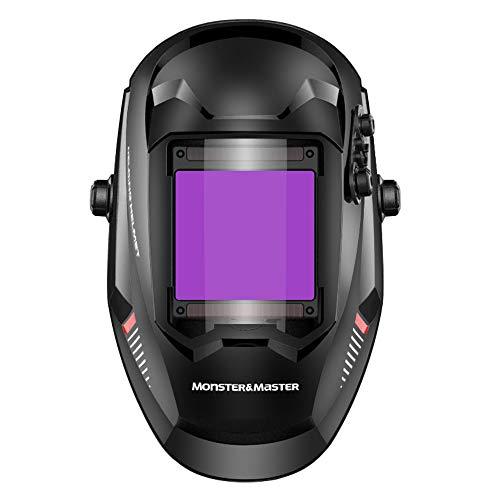 Monster & MasterTrue ColorLarge Viewing Screen Solar Power Auto DarkeningWelding Helmet, 4 Arc Sensor Wide Shade, ATHUS-MM-WH-004