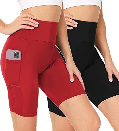 LecGee Women's Short Yoga Side Pockets High Waist Workout Running Shorts