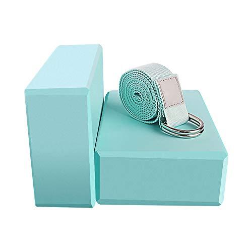 Yoga Blocks 2 Pack Set - (Yoga Brick with 1 Yoga Strap) High Density Soft Non-Slip Pilates Meditation EVA Foam for Women