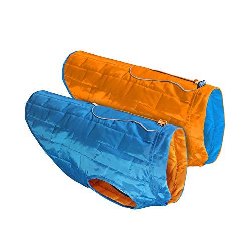 Kurgo Dog Jacket, Reversible Winter Coat for Dogs, Fleece Vest for Pets, Reflective, Wear with Harness, Water Resistant Loft Jacket, For Small Medium Large Pets (Blue/Orange, Large) (K01849)