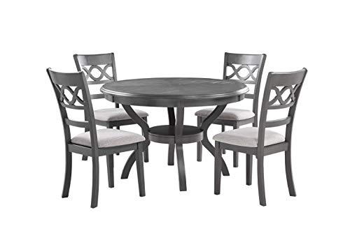 New Classic Furniture Cori 5-Piece Round Dining Table Set, Gray