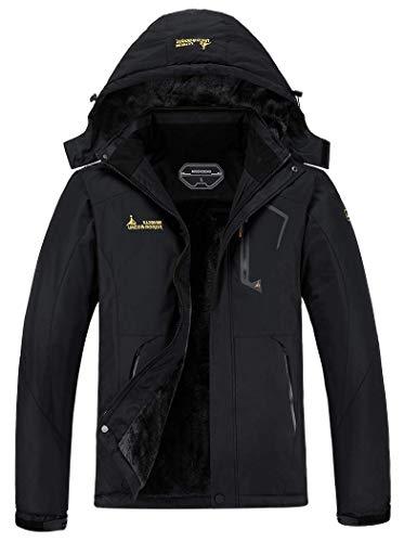 MOERDENG Men's Waterproof Ski Jacket Warm Winter Snow Coat Mountain Windbreaker Hooded Raincoat, Black, XX-Large