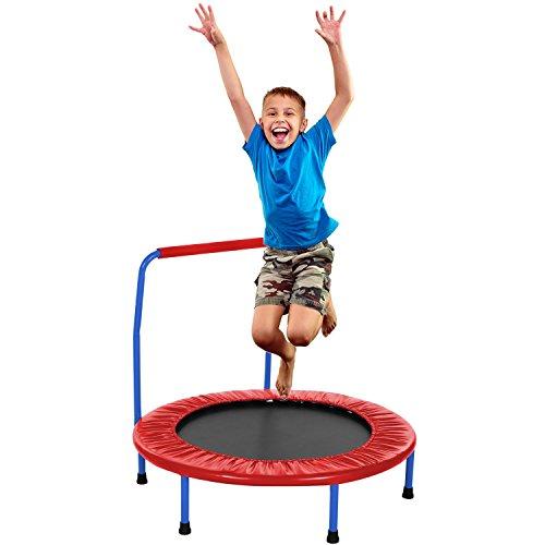 Binxin Mini Rebounder Trampoline Indoor/Outdoor with Adjustable Handle for Two Kids, Parent-Child Twins Trampolines