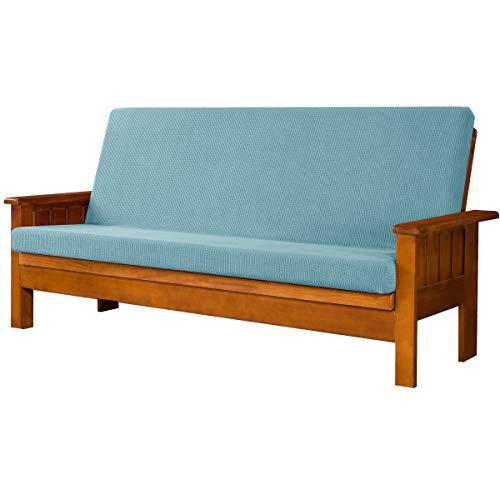 subrtex Stretch Futon Cover Jacquard Futon Slipcover Full Size Futon Mattress Cover Foldable Armless Sofa Bed Cover Furniture Cover (Futon, Light Blue)