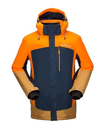 Orolay Men's Waterproof Ski Jacket Mountain Windproof Winter Hooded Rain Coat Orange L
