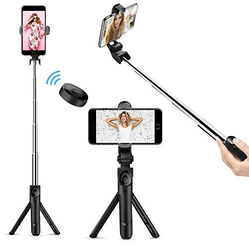 Selfie Stick Bluetooth, Doosl Selfie Stick Tripod - Extendable Tripod Stick with Remote - Facetime Phone Stand, Wireless Selfie Stick Tripod, Portable Tripod for Phone
