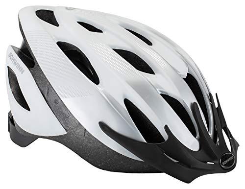 Schwinn Thrasher Bike Helmet, Lightweight Microshell Design, Adult, White/Silver