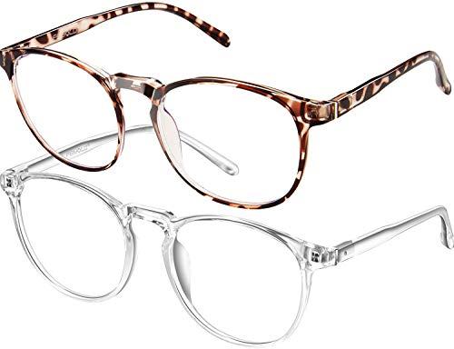 FEIYOLD Blue Light Blocking Glasses Women/Men,Retro Round Anti Eyestrain Computer Gaming Glasses(Leopard+Crystal)