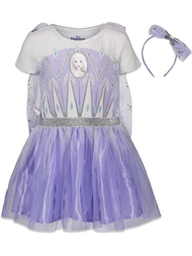 Disney Frozen Elsa Anna Toddler Girls Costume Dress Gown & Headband Set 3T Purple/White