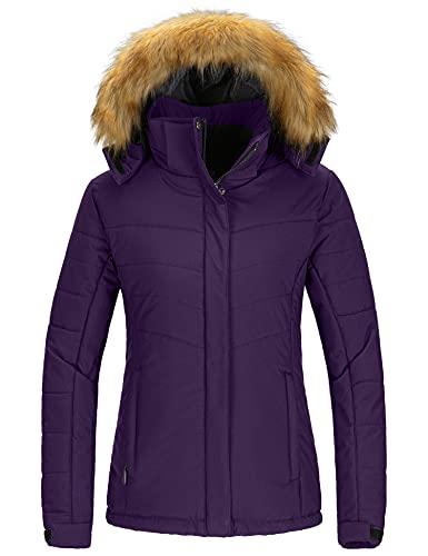 Wantdo Women's Windproof Skiing Jacket Cotton Padded Winter Snow Coat Raincoat Dark Purple L