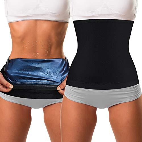Waist Trimmer Sweat Waist Trainer Belts Stomach Wraps for Women Bodybuilding (Blue Inner,M Size)