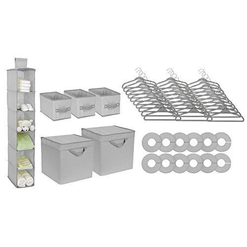 Delta Children Nursery Storage 48 Piece Set - Easy Storage/Organization Solution - Keeps Bedroom, Nursery & Closet Clean, Dove Grey