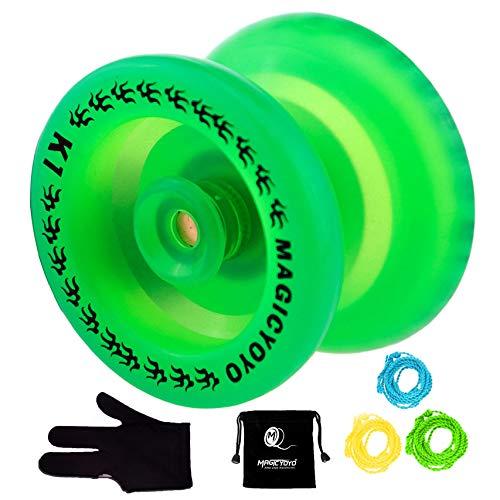 MAGICYOYO Responsive YoYo K1 Plus Glow in The Dark Green Yoyo with Yoyo Sack + 3 Strings +Yo-Yo Glove Gift