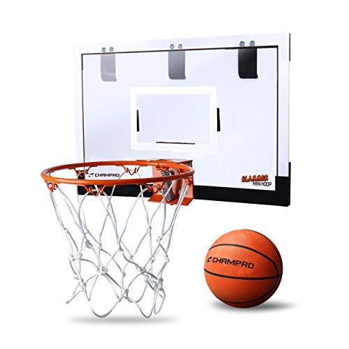 CHAMPRO BB49-N/A-Mini Slammer Mini Basketball Hoop 18' x 10.5' with PVC Ball, Brown/A