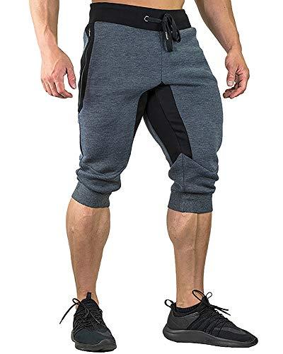 FASKUNOIE Mens 3/4 Jogger Pants Baggy Capri Casual Short Pants Cotton Bodybuilding Gym Shorts