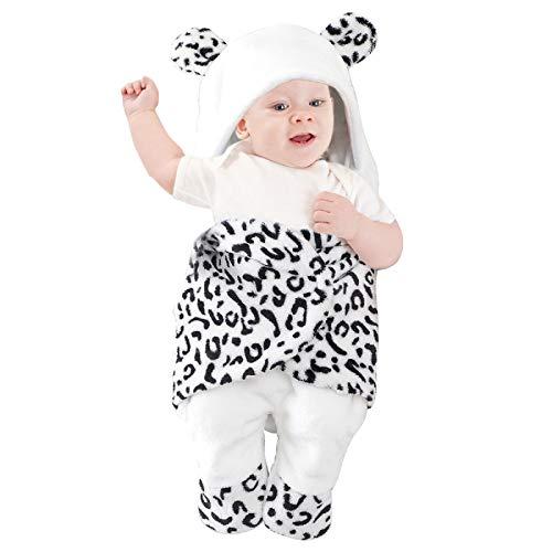 SOONHUA Newborn Baby Hooded Swaddle Blanket,Winter Keep Warm Blanket Stroller Wrap Sleeping Bag ,for 0-4 Months Baby Boys Girls Use(Black White Leopard Pattern )