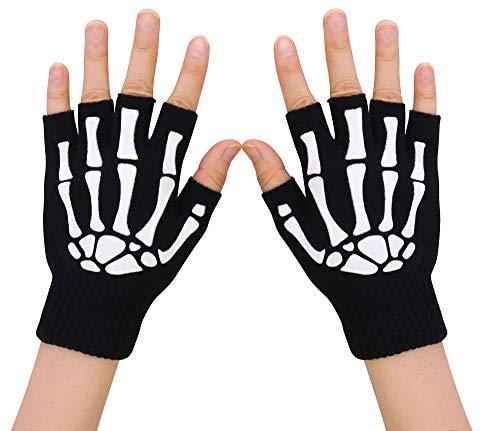 Simplicity Unisex Half Finger Skeleton Gloves Glow in the Dark Knit Skull Gloves