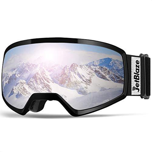 JetBlaze Ski Goggles, OTG Snowboard Goggles (Silver)