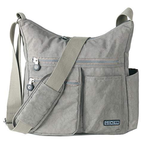 Crossbody Bag with Anti Theft RFID Pocket - Women Lightweight Water-Resistant Purse (light grey)