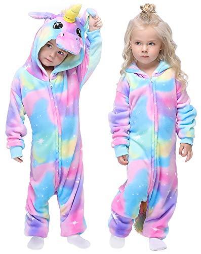 Colorful Unicorn Onesie Pajamas Animal Costume Halloween Cosplay Unisex Xmas Gifts for Kids