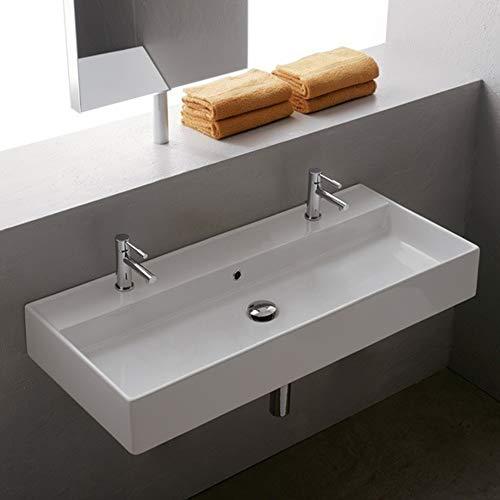 Scarabeo 8031/R-100B-Two Hole Teorema Rectangular Ceramic Wall Mounted/Vessel Sink, White