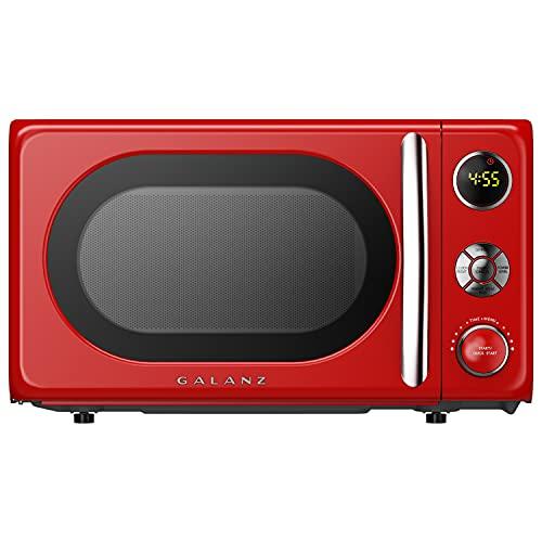 Galanz GLCMKA07RDR-07 Microwave Oven, LED Lighting, Pull Handle Design, Child Lock,Retro Red, 0.7 Cu.Ft