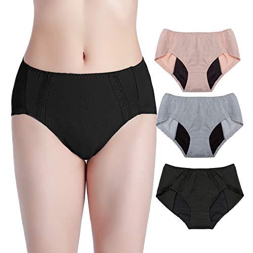 Intimate Portal Women Tweens Leak Proof Briefs Period Menstruation Panties 3 Pack Gray Black Beige L