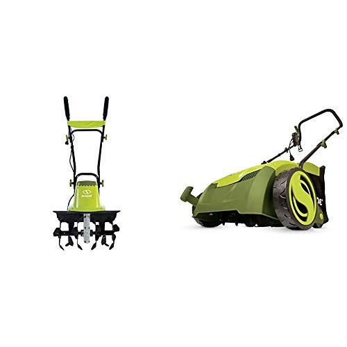 Sun Joe TJ604E 16-Inch 13.5 AMP Electric Garden Tiller/Cultivator,Black & AJ801E 13 in. 12 Amp Electric Scarifier + Lawn Dethatcher w/Collection Bag, Green