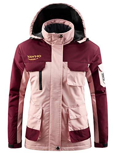 Women's Mountain Waterproof Ski Jacket Windproof Rain Snowboarding Jackets Winter Fleece Warm Snow Hooded Coat (Pink, M)