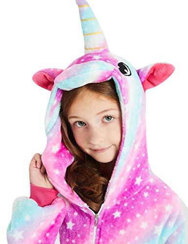 ABENCA Unisex Kids Fleece Onesie Unicorn Pajamas Animal Christmas Halloween Cosplay Costume Sleepwear,Purple Unicorn Sky New, 120