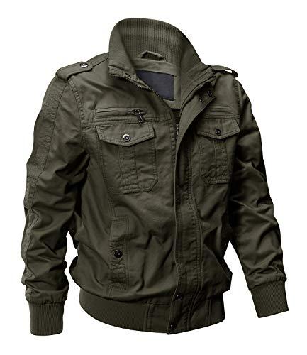 EKLENTSON Army Jacket Men Jackets for Men Military Fall Jacket Men Multi Pockets Jackets Winter Green