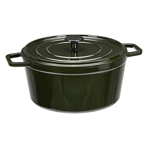 AmazonBasics Premium Enameled Cast Iron Round Dutch Oven, 5-Quart, Deep Hunter Green