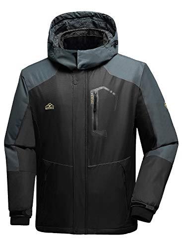 Men's Mountain Waterproof Ski Jacket Windproof Rain Jacket U119WCFY028,Gray,XL