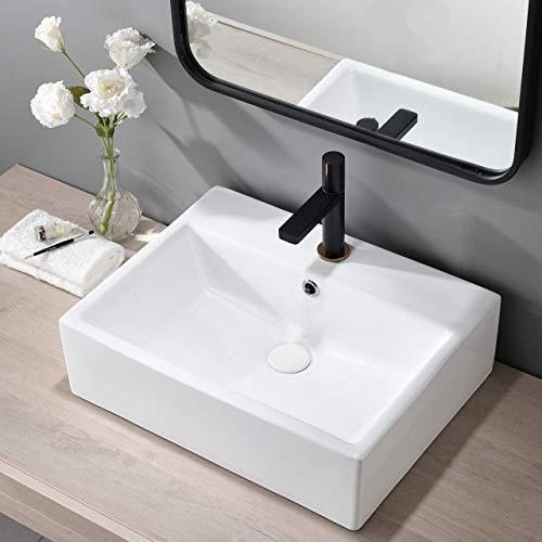 VAPSINT 21.3'x16.3' Modern Rectangular White Procelain Ceramic Bathroom Vessel Sink, Above Counter Bathroom Sink for Lavatory Vanity Sink