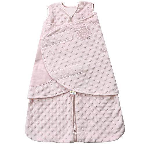HALO Sleepsack Plush Dot Velboa Swaddle, 3-Way Adjustable Wearable Blanket, TOG 3.0, Pink, Newborn, 0-3 Months