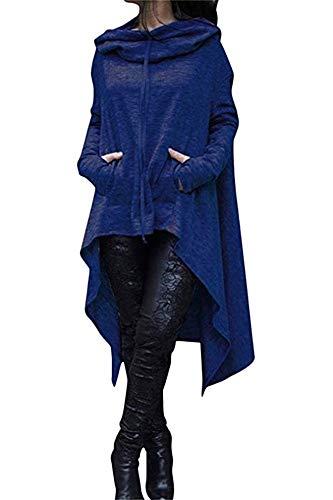 Xuan2Xuan3 Womens Kangaroo Pockets Loose Hoodies Sweatshirts Outerwear Coat Dress, Blue, Large