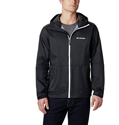 Columbia Men's Roan Mountain Rain Jacket, Black/White, Medium