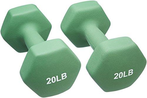 AmazonBasics 20 Pound Neoprene Dumbbells Weights - Set of 2, Light Green