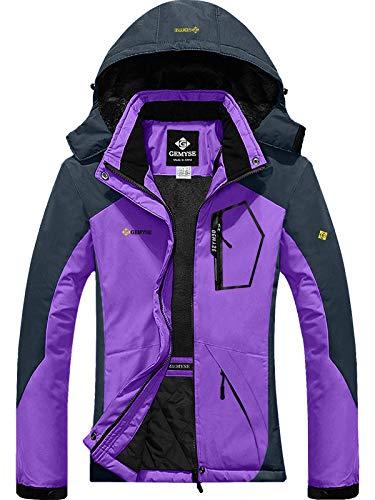 GEMYSE Women's Mountain Waterproof Ski Snow Jacket Winter Windproof Rain Jacket (Purple Grey,L)