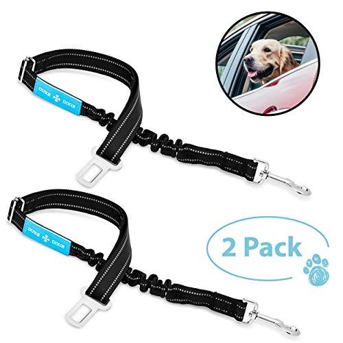 Dog Seat Belt Pet Dog Cat Car Seatbelt Safety - Adjustable Harness Safety Belts Pet Leash - Heavy Duty Nylon - Universal Fit (2 Pack Elastic Leash) (2 Pack Elastic seat BLT Leash)