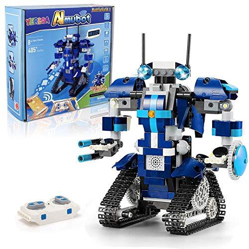 Yerloa STEM Robot Building Toys, 405Pcs Remote & APP Controlled Robot Building Blocks Kit Build a Robot Game Programmable Robot Toy Stem Projects Educational Robotics Kit Gift for Kids Aged 8+ Boys
