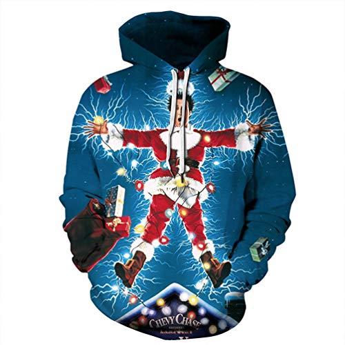 Heymiss Unisex Hooded Ugly Christmas Sweater Hoodie 3D Digital Print Sweatshirts Star L