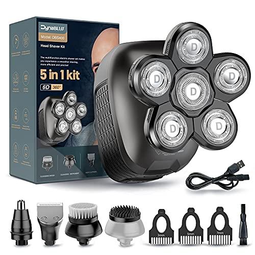 Head Shaver for Bald Men-Upgrade 6 in 1 Electric Razor for Men & Women Dynabliss Multifunctional Bald Head Shaver Grooming Kit/Cordless Electric Shavers for Men/USB Rechargeable Rotary Shaver for Men
