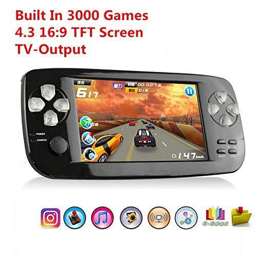 BAORUITENG Handheld Game Console, Portable Video Game Console 4.3 Inch 3000 Classic Retro Game Console Pap-KIII , Support GBA / GBC / GB / SEGA / NES / SFC / NEOGEO (Black)