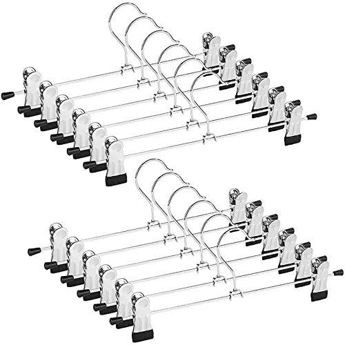 Opuss Metal Pants Shorts Hangers, Heavy Duty Kids Skirt Hangers with 2 Adjustable Non Slip Clips, Ultra Thin Space Saving 360 Degree Swivel Hook Stainless Steel Hanger 12 Pack