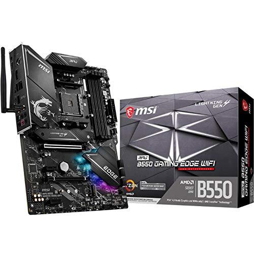 MSI MPG B550 Gaming Edge WiFi Gaming Motherboard (AMD AM4, DDR4, PCIe 4.0, SATA 6Gb/s, M.2, USB 3.2 Gen 2, AX Wi-Fi 6, HDMI/DP, ATX, AMD Ryzen 5000 Series Processors)
